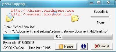 proses copy berjalan dengan tombol pause dan resume